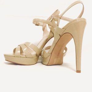 Vince Camuto Jessamae strappy heels beige